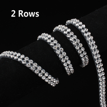2 Rows SS8 Diamond Hotfix Rhinestone Mesh Banding Chain with  silver Aluminum base crystal  trim mesh 1.2m for garment