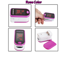 Quality Guaranteed Portable LED Finger Pulse Oximeter Blood Oxygen Monitor SpO2 PR Monitor Rose Red Color Free Ship