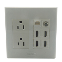 2 Gang wall plate with 2 ports US AC 4 ports HDMI 1 port CAT6 1 port F head support customization(China)