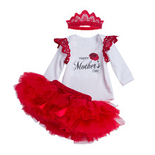Happy Mother's Day Girls Sets Red Heart Print Bodysuits+Bow Tutu Bloomers+Headband 3pcs Boutique Gifts Baby Clothing Set