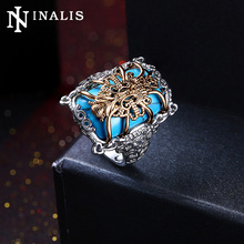 2017 Unique Ethnic Design Big Turquoises Stone Vintage Rings for Women Nickle Free White Gold & Gold Color Turkish Jewelry Ring