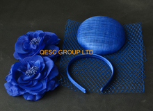 NEW Royal blue sinamay base veiling satin headband feathers for fascinator tea hat kentucky derby hat.