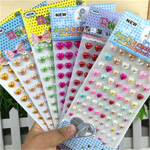 Hot Sale Scrapbook Kid Sticker Self Adhesive 3d Acrylic pearl Heart Diy Stickers Accessories for Children gifts Kindergarten toy