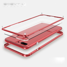 Metal Bumper For apple iphone 7 plus RED cover Luxury aluminium frame for iphone 7 shockproof phone case Transparent Backplane