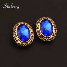 SINLEERY Vintage Blue/Pink/White Oval Rhinestone Earrings Antique Gold Color Stud Earrings For Women Accessories ES105 SSD