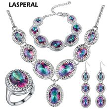 Luxury Bridal Jewelry Sets Rainbow Waterdrop Mystic Earrings Necklace Ring Bracelets African Beads Jewelry Set For Women