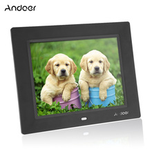 Andoer 8'' Ultrathin HD TFT-LCD Digital Photo Frame Alarm Clock MP3 MP4 Movie Player digital Photo Album with Remote Desktop(China)