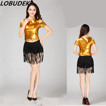 (top+shorts) club prom show female costumes golden hip hop jazz DJ stage wear teams singer dancer Christmas performance clothing