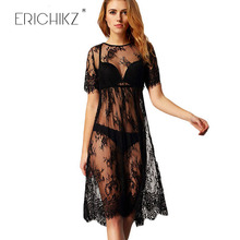 ERICHIKZ Fashion Smock dress Casual Long Black Short Sleeve O Neck See Through Beach Wear Lace Sexy Dress Women Midi Dresses