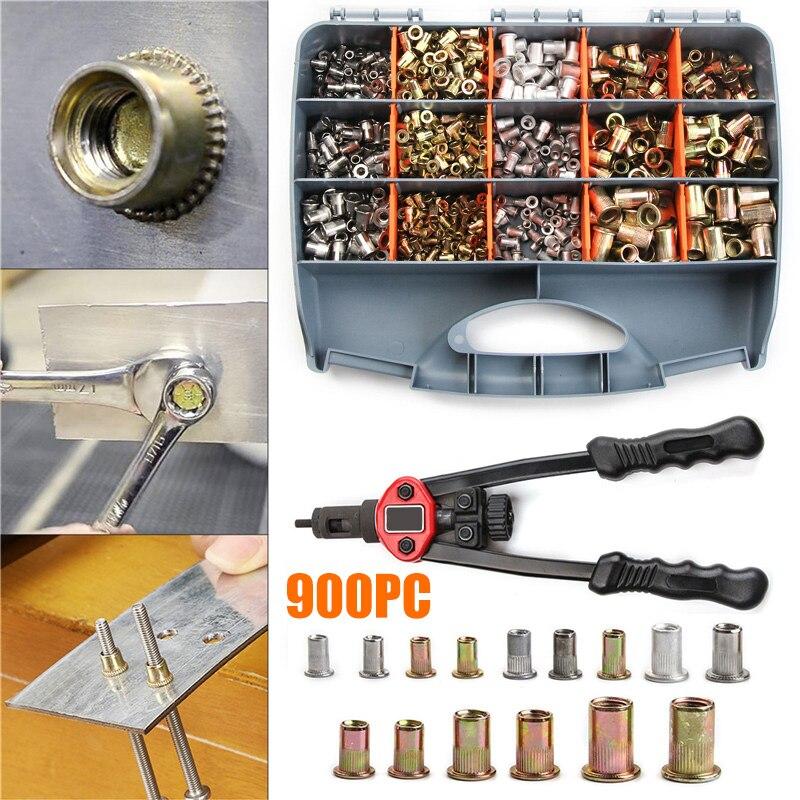 900pcs/set Nut Rivet Gun Kit M3 M4 M5 M6 M8 M10 Threaded Nut Rive Household Repair Manual Riveters Hand Blind Rivet Tool