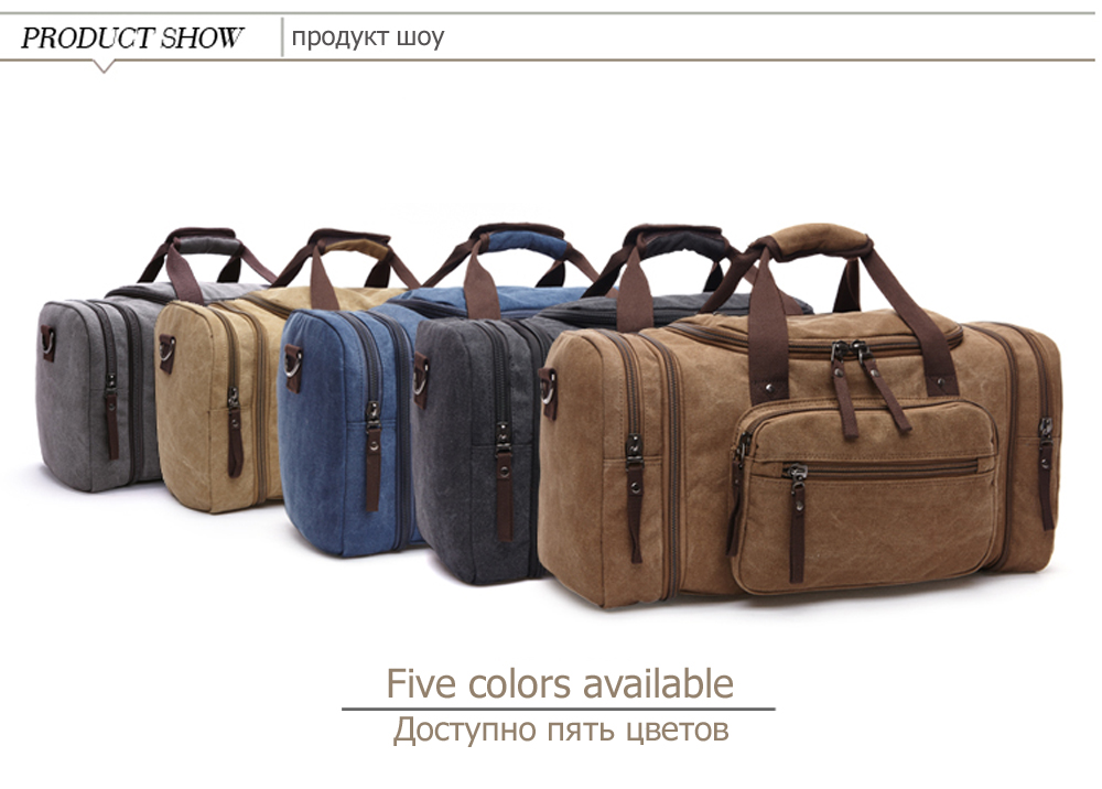 duffle bag in five different colors