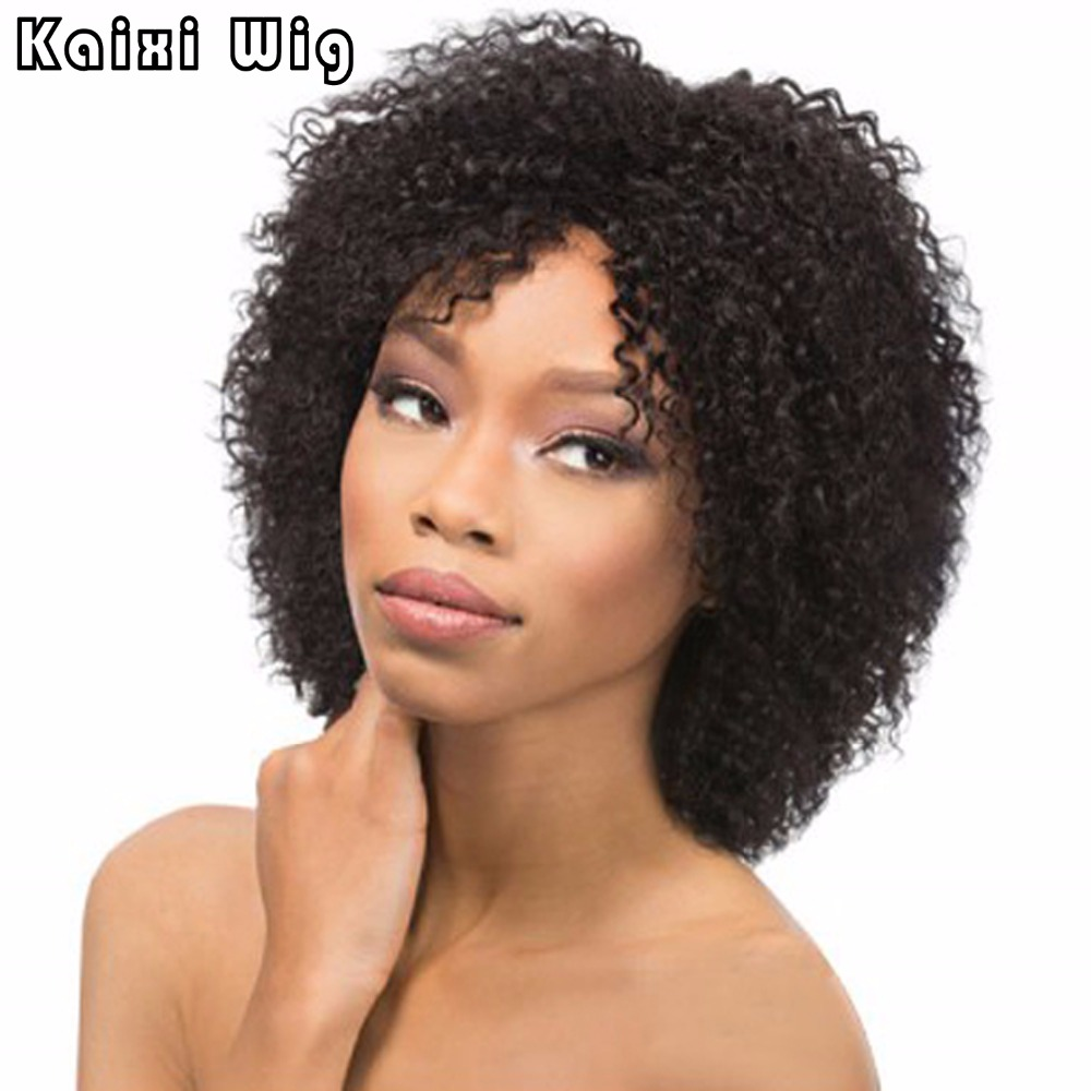 Short Afro Kinky Curly Wig Synthetic Wigs For Black Women African American Short Wigs Short Black Bob Wigs Afro Curly Hairstyles<br><br>Aliexpress