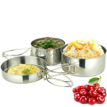 SRDWOS  High quality  4 pcs stainless steel folding camping pot  cookware  for  Outdoor Camping Hiking