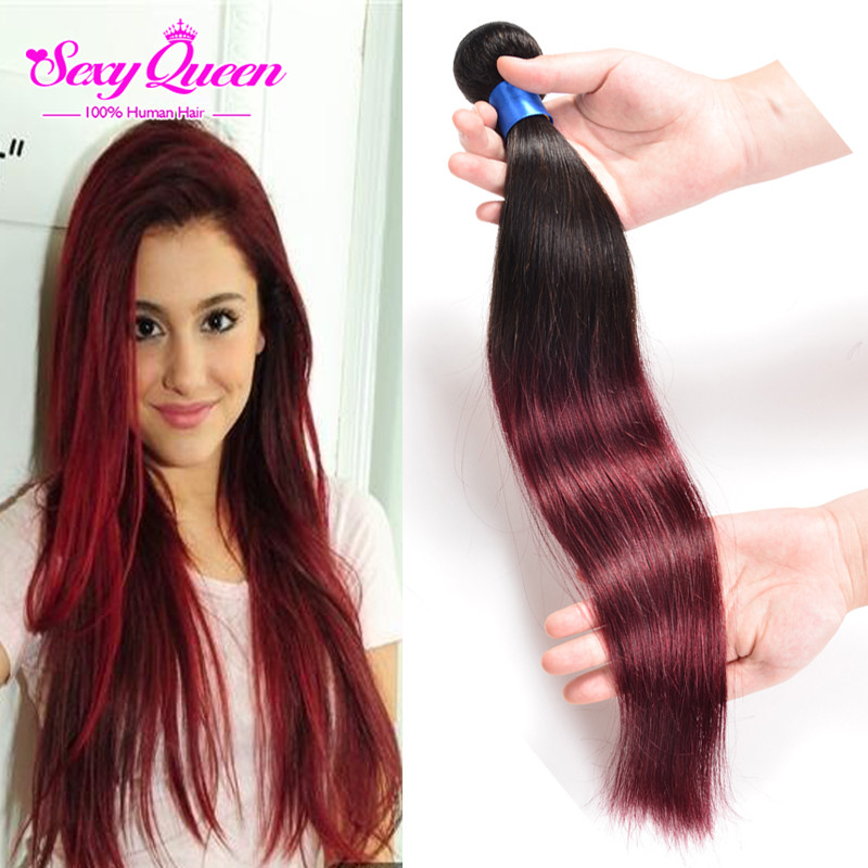 Best 1B Burgundy Ombre Hair 7A Brazilian Ombre Hair Straight 1 pcs Grace Ombre Brazilian Hair Weave Bundles Bresilienne Cheveux<br><br>Aliexpress