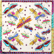 100% Silk Scarf Women Scarf Butterfly Neckerchief Scarf Silk Bandana 2017 Top Hot Foulard Small Square Silk Scarf Gift for Lady