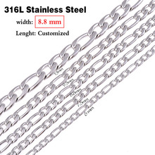 Never Fade 8.8mm(width) Stainless Steel Necklace Chain Men Figaro Chain Necklace Lenght Customized Wholesale