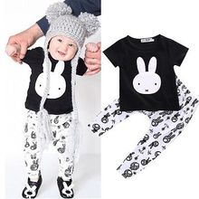 Fashion Cute Bunny 6 12 24 Months Clothes Infant Baby Boy Girl T-Shirt Pant Outfit Set Lovely Cartoon Rabbit Clothes Sets