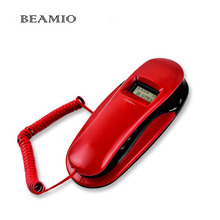 Fashion Caller ID Landline Wall Telephone Hook Small Hotel Portable TelephoneS For Home Bussiness Red(China)