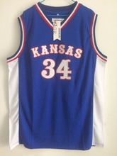 2017 Mens SexeMara Paul Pierce Jersey Cheap Throwback Basketball Jersey #34 Kansas Jayhawks KU College Retro Blue Shirts For Men(China)