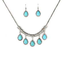 Parabola Created Turquoises Water Drop Choker Pendant Earrings and Necklace Jewelry Sets Silver Color for Women Girl ZSS0001