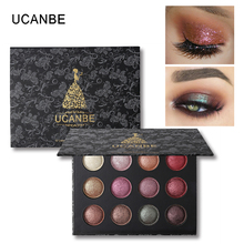 UCANBE 12 Color Baked Eye Shadow Powder Makeup Shimmer Metallic Glitter Eyeshadow Palette Nude High Pigment Smoky Eyes Cosmetics(China)