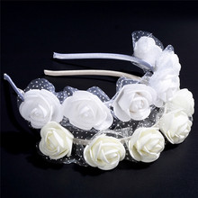 New Bohemian Style White Rose Flower Garland Head Floral Handmade Wreaths Crowns Wedding Hair Accessories for Girls