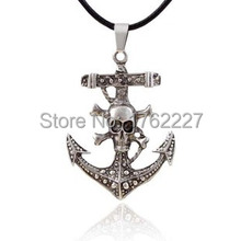 retro exaggerated personality anchor pirate skull cross pendant leather cord necklace male free shipping(China)