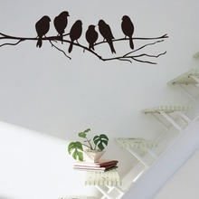 wall stickers modern home decor 6 birds on branch vinyl living room kids baby nursery bedroom decor 8216. decoration art decal(China)