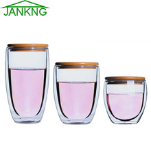 JANKNG Heat-resistant Tea Glass Cup with Bamboo Cover Clean Double Wall Glass Mug Coffee Handmade Creative Transparent Drinkware