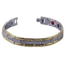 "Mens 10MM Titanium Magnetic Therapy Link Bracelet Negative Ion Germanium Power Health Wrist Band 8.5"" Golden Silver Tone"