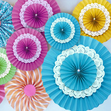 10pcs/lot 6 inch 3 Layers Tissue Paper Fan Crafts  Wedding Party Festive Decoration Holiday Supplies
