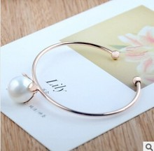 European and American fashion metal flower girl imitation pearl jewelry wholesale Bangles  free shipping