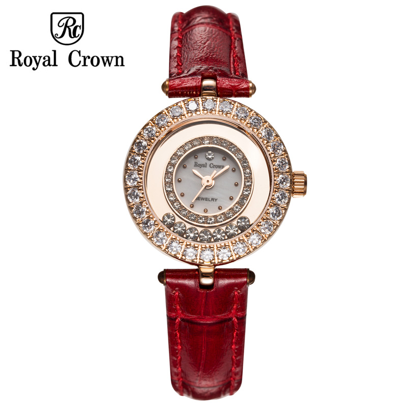 Small Womens Watch Japan Quartz Hours Clock Fashion Dress Bracelet Leather Luxury Rhinestones Girls Bling Gift Royal Crown Box<br>