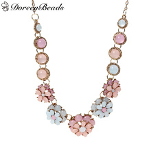 "DoreenBeads Statement Necklace Link Cable Chain gold color Acrylic Pink & Blue Daisy Flower 46.5cm(18 2/8"")long, 1 Piece"
