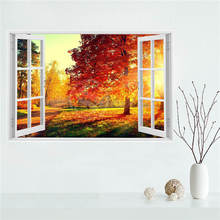 Y530L9 Custom Autumn leaves country road nature tree Canvas Painting Wall Silk Poster cloth print DIY Fabric Poster F#5@