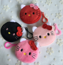 Kawaii Sweet 4Colors. NEW Hello Kitty 8cm mini Plush Coin Purse Wallet Pouch ; small key hook Coin BAG Pouch Wallet