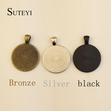 SUTEYI 25mm Necklace Pendant Setting Cabochon Cameo Base Tray Bezel Blank Jewelry Making Findings Suitable for glass gemstones(China)