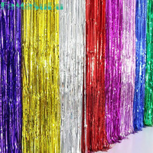 New 1Mx2M shimmering Gold Silver Metallic Tinsel Curtain Foil Room Shiny Pub party Stage wedding decoration backdrop Background(China)