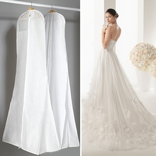 Hot Sale Wedding Dress Bags Garment Bags Clothes Dust Cover Wedding Dress Cover Hanging Storage Closet Clothes Organizer(China)