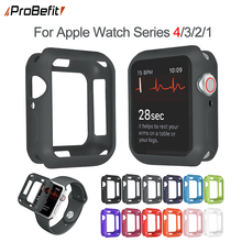 ProBefit Soft Silicone Case for Apple Watch 3 2 1 42MM 38MM Cover Full Protection Shell for iWatch 4 40MM 44MM Watch Bumper(China)