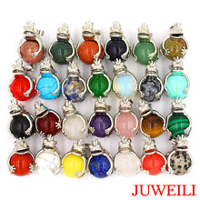 JUWEILI Jewelry Mixed 25pcs Natural Stone Round Bead Silver Color Frog Prince Reiki Pendant Necklaces Charm Wicca Witch Amulet