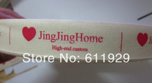 Free shipping custom clothing printed cotton ribbon/clothing customized labels/tags/garment printed tag/logo 100 yards a lot