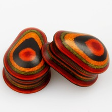 colorful wood ear expander water drop style ear tunnel body jewelry ear plugs 2pcs pair selling 8mm to 25mm gauges