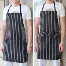 Polyester Stripe Bib Apron with 2 Pockets Chef Waiter Kitchen Cook New Tool  -30