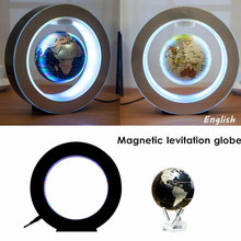 2W DC12V Magnetic Floating Globe Map w/LED Light Colorful Decor Gift EU Plug(China)