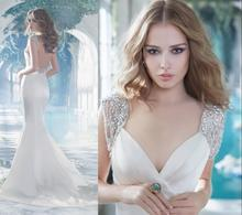 2017 Best Selling Sexy Cap Sleeve Mermaid V-neck Modest Bridal Gowns Swarovski Crystal Beaded Backless Vintage Wedding Dresses