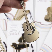 6 pcs/lot Cute Gold Metal Bookmark Fashion Musial Piano Guitar Bookmark for Book Creative Gift Korean Stationery Free shipping