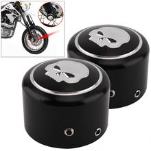 1 Pair CNC Aluminum Durable Motorcycle Front Axle Nut Cover with Skull Pattern and Screws for Harley Sportster XL883 XL1200 X48