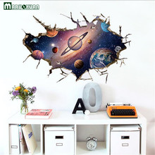 YunXi 3D Space Planet Sticker Bedroom Living Room Corridor Background Decorative Waterproof Pvc Wall Stickers 59*89CM