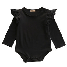 Autumn Winter Toddler Newborn Kids long sleeve lace shoulder Romper Infant Baby Girls Romper Jumpsuit Clothes Outfits